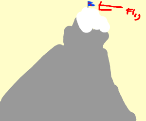 Mt Everest with a flag on top of it