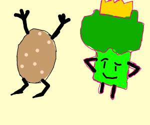 potatoes worship the broccoli