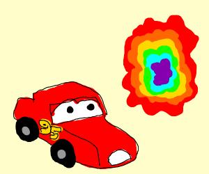 Lightning McQueen is scared of rainbow portal