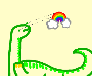 Green dinosaur gazing at rainbow