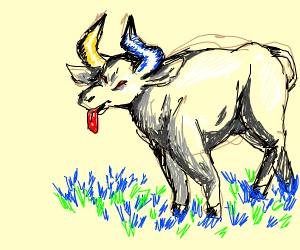 yellow and blue horned bull