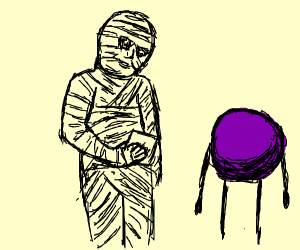 A mummy interviewing a purple circle