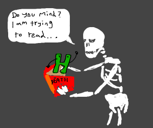 A skeleton reading a book with an h on it
