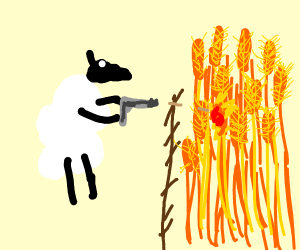a sheep shooting a pistol in a wheat field