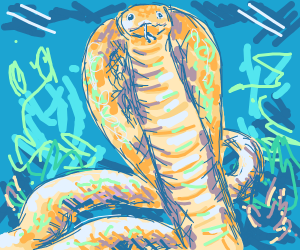 Yellow cobra at night in the desert
