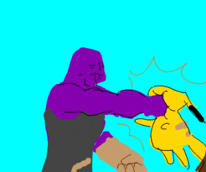 Thanos punching pikachu in face