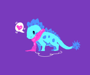 Bitty Dino likes his scarf