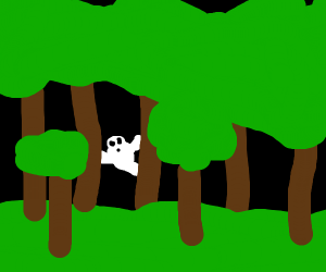 Ghost playing hide and seek in the forest
