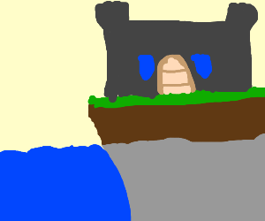 castle on a cliff thats over the water