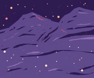 night time mountain scenery