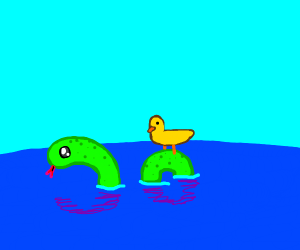 a duck riding a snake in the water