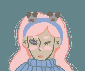 Girl with a Cute Panda Headband