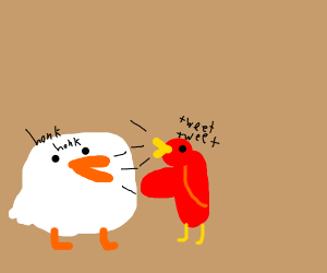 Round goose has conversation with bird