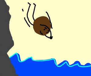 Happy little diving coconut