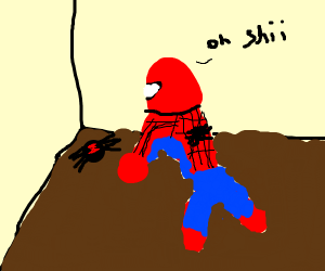 Spiderman scared by real spider