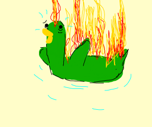Father Duck is on fire!