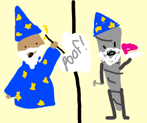 wizard turned himself to a joint eating cake