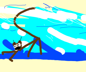 monkey running away from a giant wave
