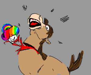 Rainbow cupcake bursts out of Pony's neck