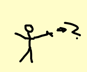 A guy pointing to a question mark