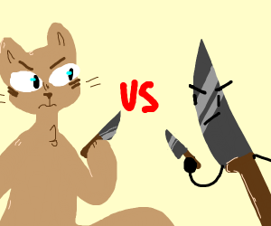 cat with knife vs. knife with knife