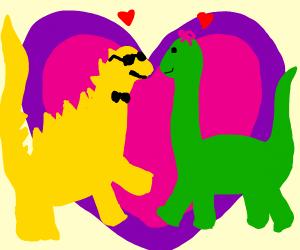 Swag dinosaur couple in love