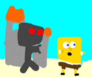 city in flames, spongebob chased by evilrobot