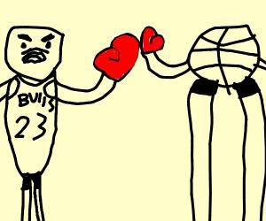 Basketball boxing match