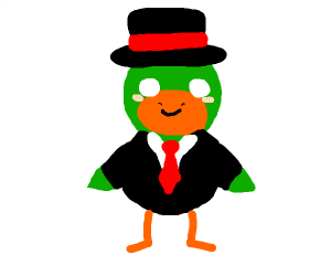 duck in fancy clothes
