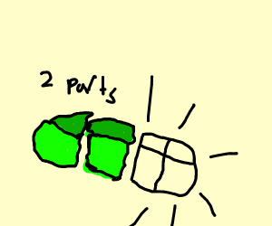 Two parts of a green hot dog