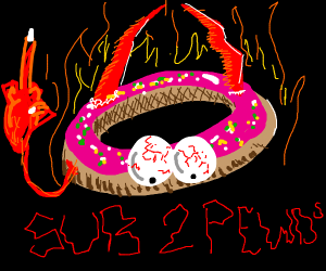 A demonic pink donut thinking to sub 2 peds