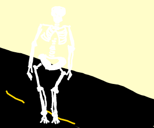 Skeleton in the middle of the road