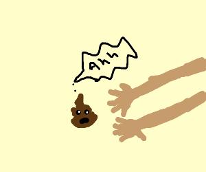 baby poop is petrified of human hands
