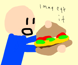 man eats a sandwich