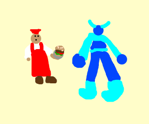 person giving a burger to a empty supersuit