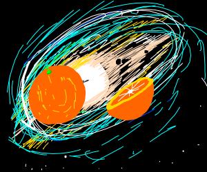 giant orange in space