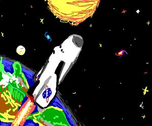 a space ship entering space