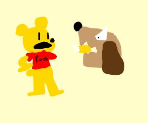 winnie pooh getting bitten by dog