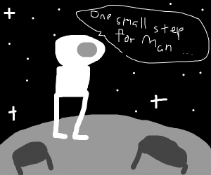 Neil Armstrong lands on the moon