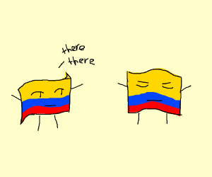 Colomian flags comforting each other