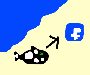whale out of water going toward Facebook