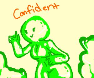 confident green blob