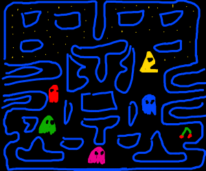 Pac-man but he is a triangle