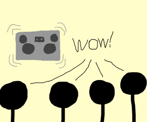 Children surprised by boombox