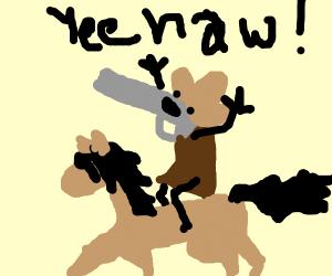 Cowboy Pistol rides a horse