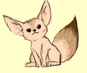 Little creature with fox tail and large ears.