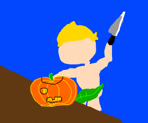 Carving pumpkins, without clothes