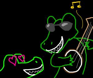 alligator woos cutie with his banjo