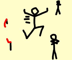 stickfigure run trough goal no people watchin