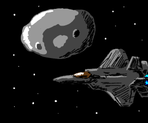 airplane flying next to asteroid in space